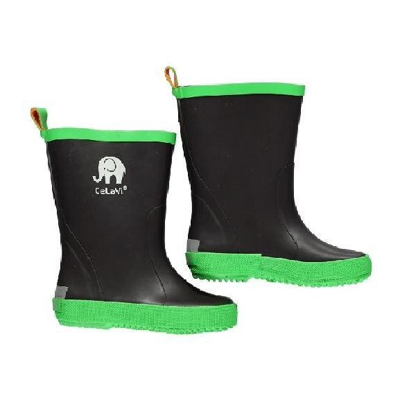 Botas de lluvia infantiles verde y negro
