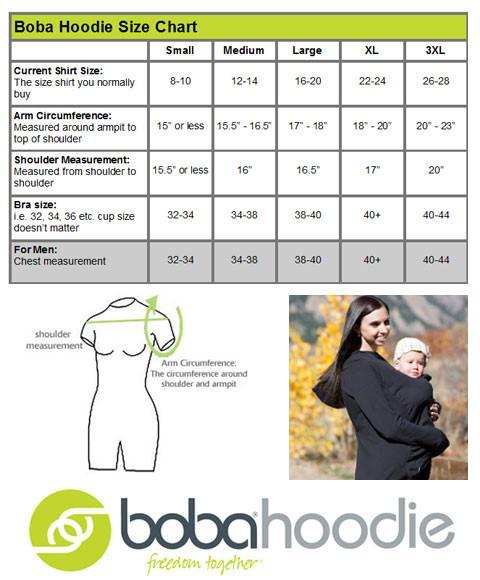 Sudadera de porteo Boba Hoodie Black - Tabla de medidas