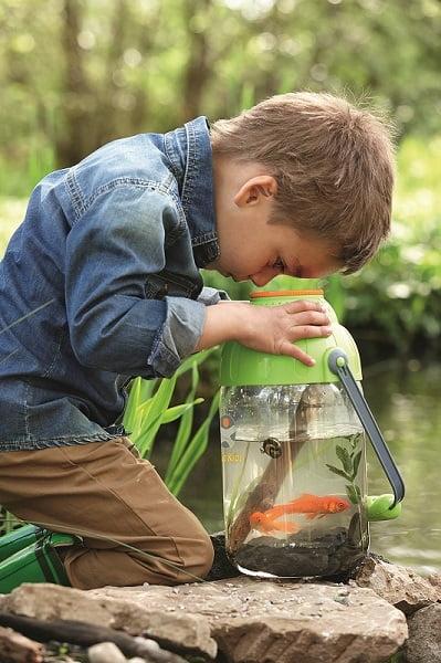 Recipiente con lupa observación vida acuática