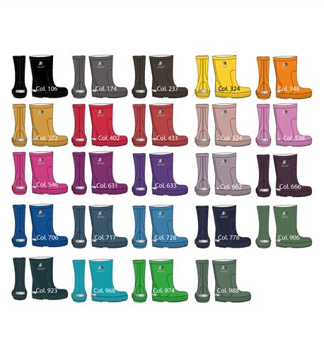 Gama de colores botas de lluvia básicas