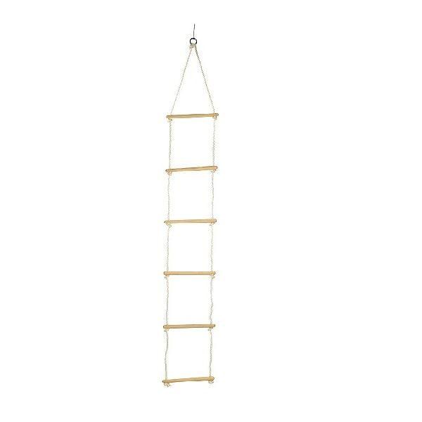 Escalera de cuerda y madera