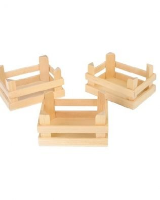 Set de 3 Cajas de madera natural – Pequeñas