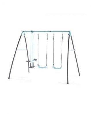Columpio de metal con dos asientos, balancín y vaporizador de agua