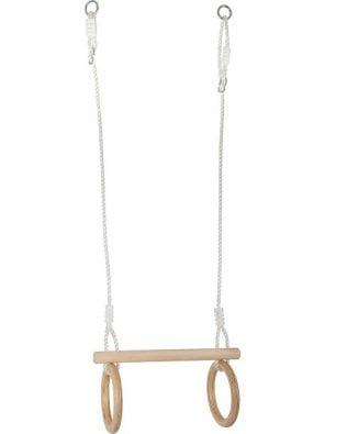 Trapecio con anillas de gimnasia de madera