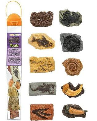 Tubo 10 miniaturas de fósiles antiguos. Safari